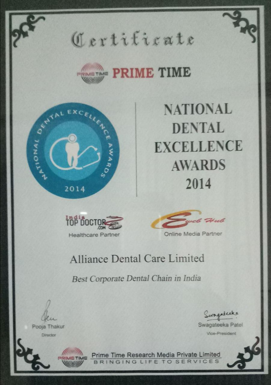 Best Corporate Dental Chain – Prime Time National Dental Excellence Awards 2014