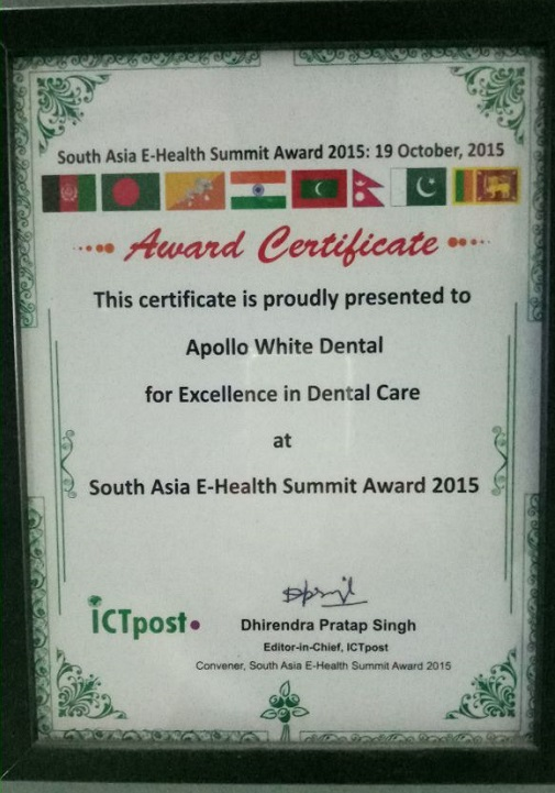 Excellence In Dental Care' at the South Asia E-health Summit Award 2015