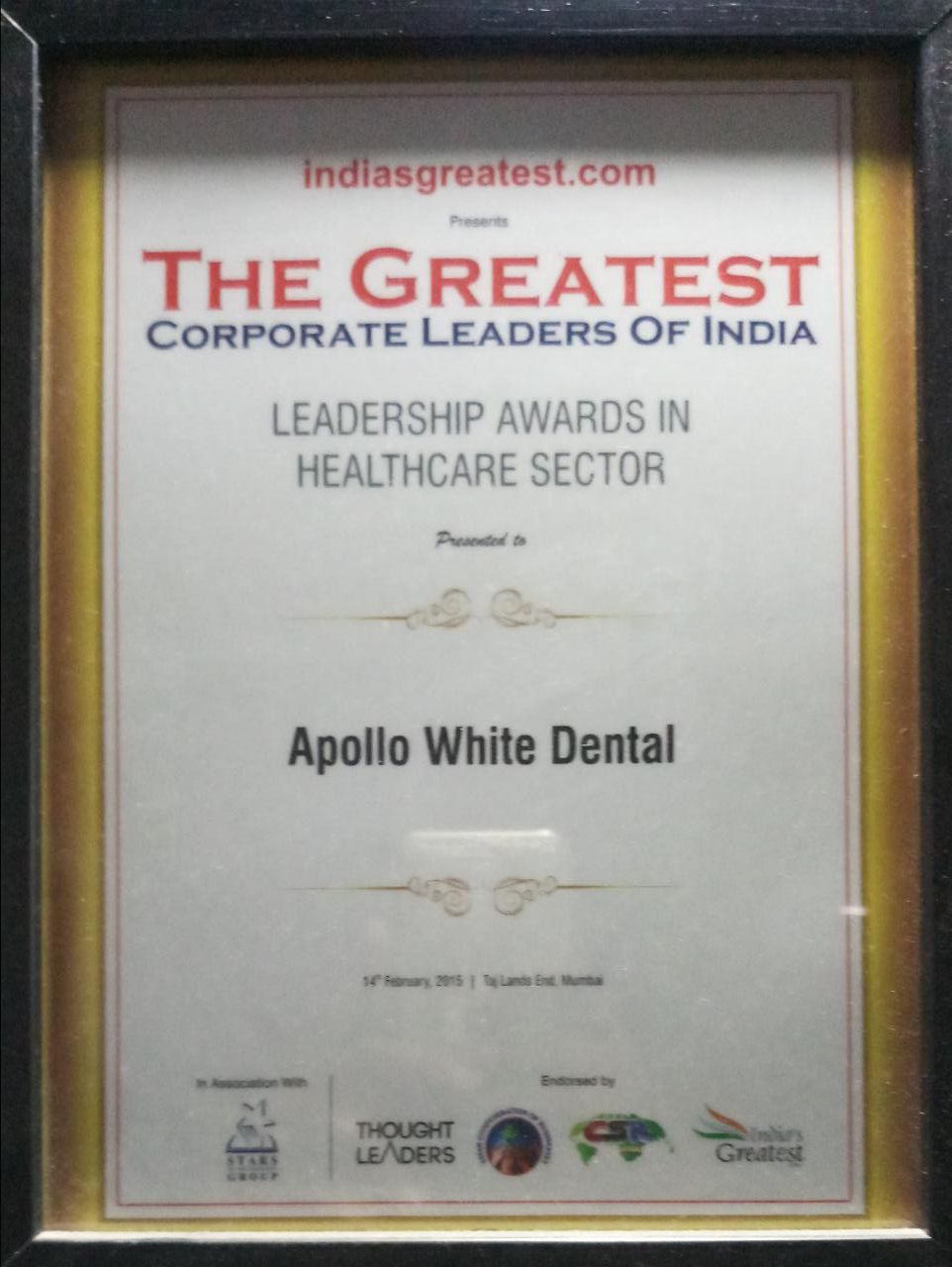 Leadership Award In Healthcare Sector – The Greatest Corporate Leaders Of India 2015