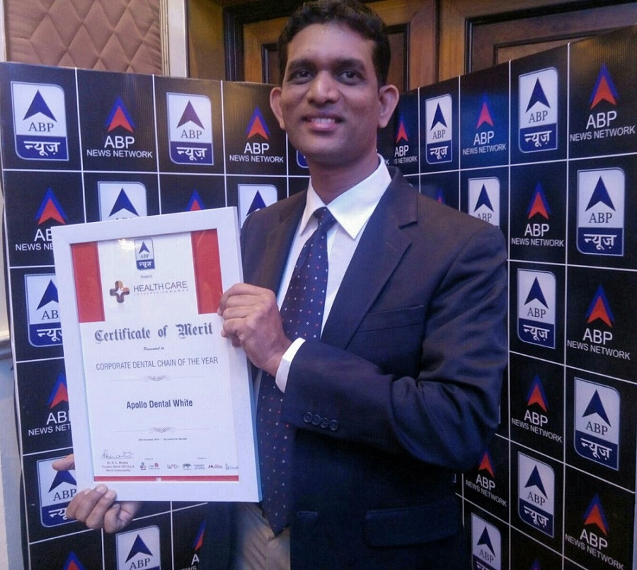 Apollo White Dental Wins ABP News Healthcare Leadership Award For Corporate Dental Chain Of The Year 2015