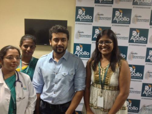 Our Aynambakkam Team with Actor Surya during his visit to our Dental Wing